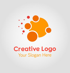 abstract orange circle logo template vector image
