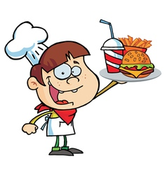 Boy Holding Up A Cheeseburger Fries And Cola vector image vector image