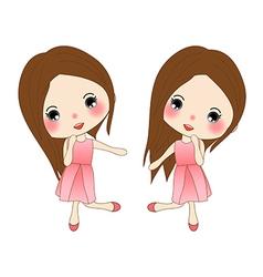 Cute Girl in Pink Dress Dancing vector image vector image