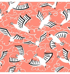 doodle seamless pattern with birds vector image vector image