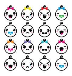 Kawaii baby boy and girl cute faces icons set vector image vector image