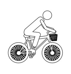 Monochrome contour pictogram of man in sport bike vector