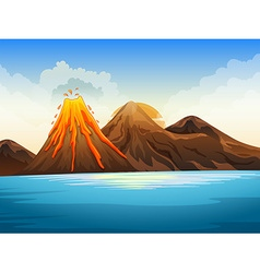 Volcano eruption by the lake vector image vector image