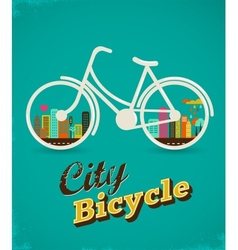 Bicycle in the city vintage style poster vector image