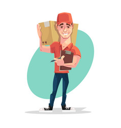 delivery man courier character hold box vector image