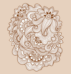Doodle floral drawinghenna tattoo flower template vector