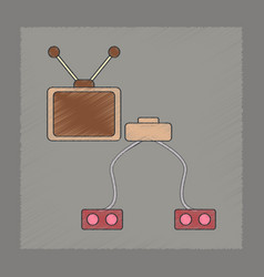 Flat shading style icon kids tv game console vector
