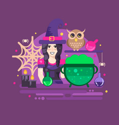 halloween poster with witch owl cauldron vector image