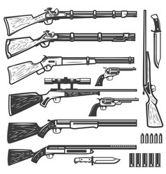 set of vintage style weapon isolated on white vector image