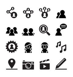 social network social media icon set vector image