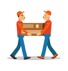 two workers mover men holding and carrying heavy vector image vector image
