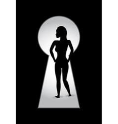 woman key hole vector image vector image