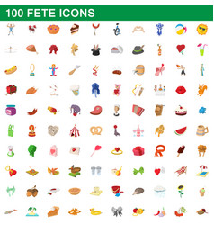 100 fete icons set cartoon style vector image
