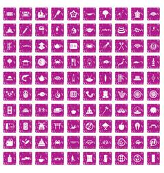 100 sushi bar icons set grunge pink vector