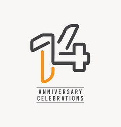 14 years anniversary celebration template design vector