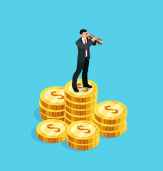 3d businessman standing on a pile of coins vector image