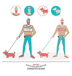 a hipster walking with a dog vector image vector image