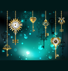 Antique keys on green background vector