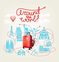 around the world concept world travel color vector image