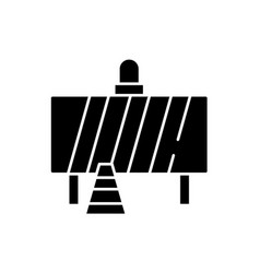 attention construction work black icon vector image