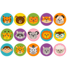 basic rgbset of isolated cute animal heads vector image