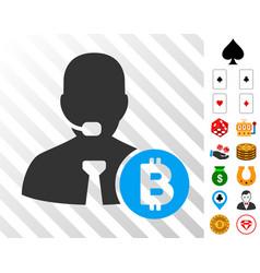 bitcoin call operator icon with bonus vector image