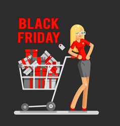 black friday sale shop cart shopping woman vector image