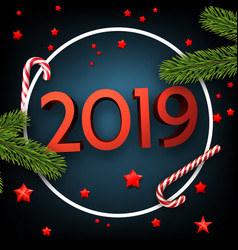 blue 2019 happy new year card with fir and candy vector image