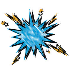 Blue comic bubble speech explosion pop art vector