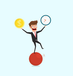 Businessman balancing on sphere juggling time and vector