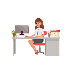 Businesswoman working with laptop computer at her vector