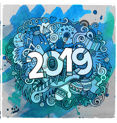 Cartoon cute doodles hand drawn 2019 year vector