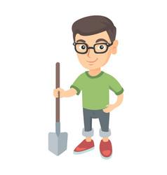 caucasian smiling boy in glasses holding a shovel vector image