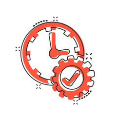 Check mark on clock icon in comic style gear with vector