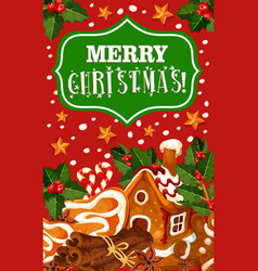 christmas cookie greeting card of new year dessert vector image