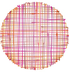 Circular hand-drawn liquid pink orange stripe grid vector