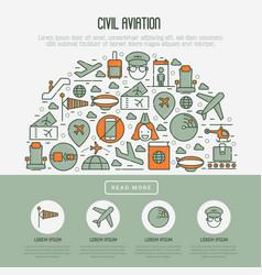 Civil aviation concept in half circle vector