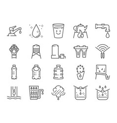 Clean water line icon set vector