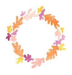 colorful abstract coral reef wreath watercolor vector image