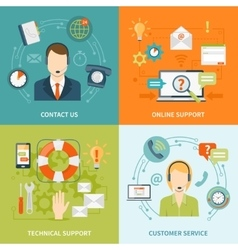 Contact Us Customer Support 2x2 Flat Icons Set vector
