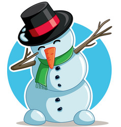cool dabbing snowman cartoon vector image