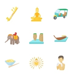 Country thailand icons set cartoon style vector