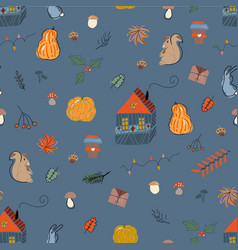 Cute autumn seamless pattern fall harvest season vector