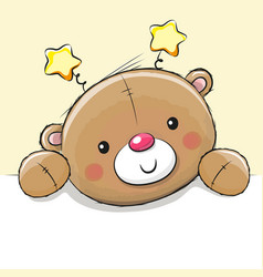 Cute drawing teddy bear vector