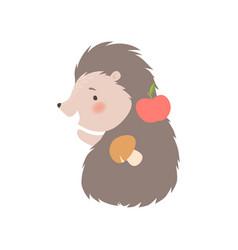 Cute hedgehog carrying apple and mushroom vector