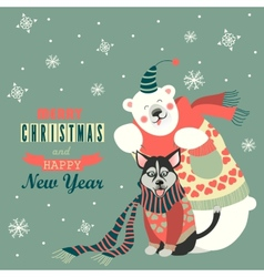 Cute polar bear and husky celebrating Christmas vector image