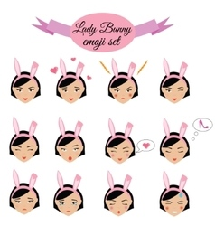 Cute sexy girl with bunny ears emoji set icons vector