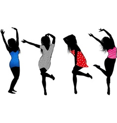Dancing Girls Silhouette Cartoons vector