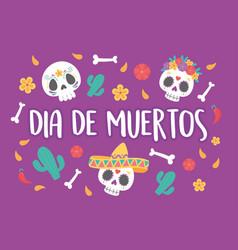 day dead mexican celebration sugar skulls vector image