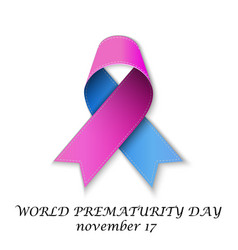 Day with pink and blue ribbon vector